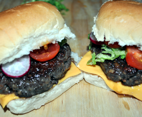 Buffalo and Kangaroo Burgers Cooked
