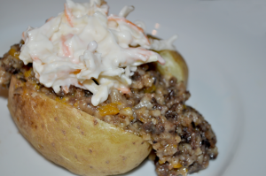 Slow Cooked Haggis with Butternut Squash and Baked Potatoes